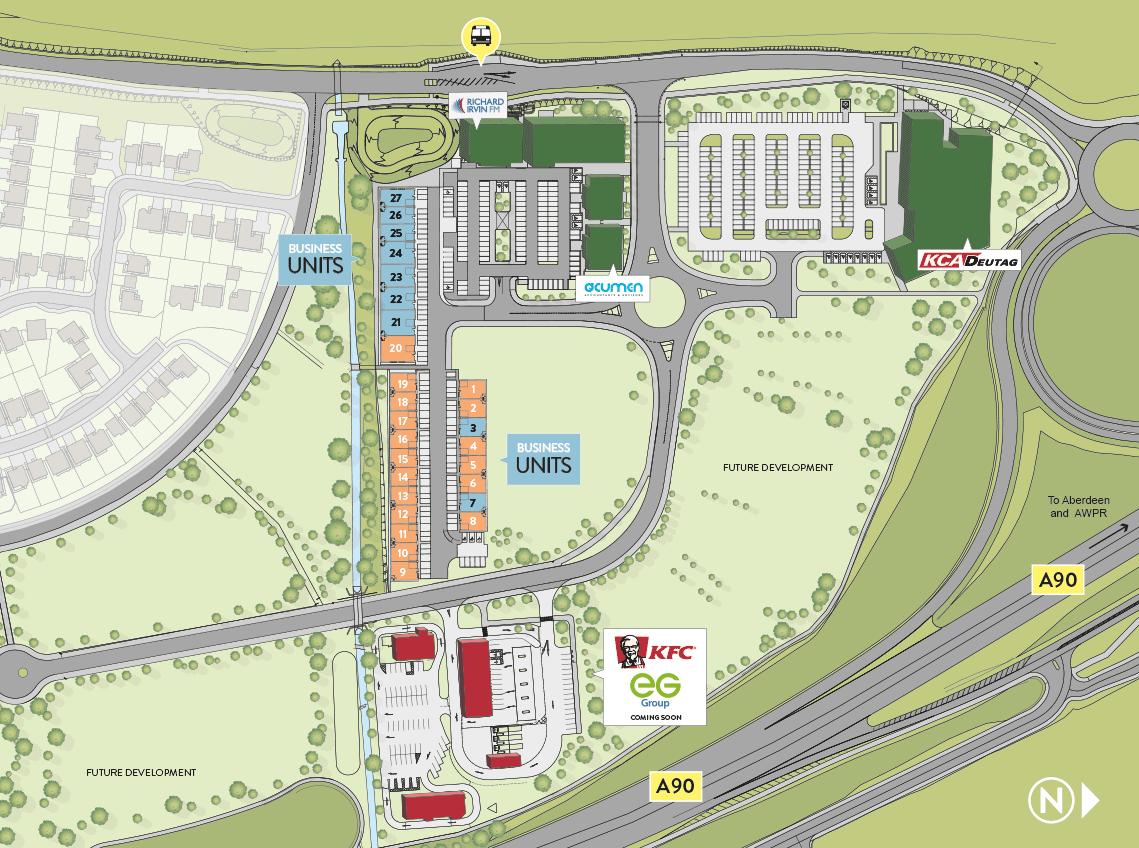 Masterplan of City South, Aberdeen showing future development land.