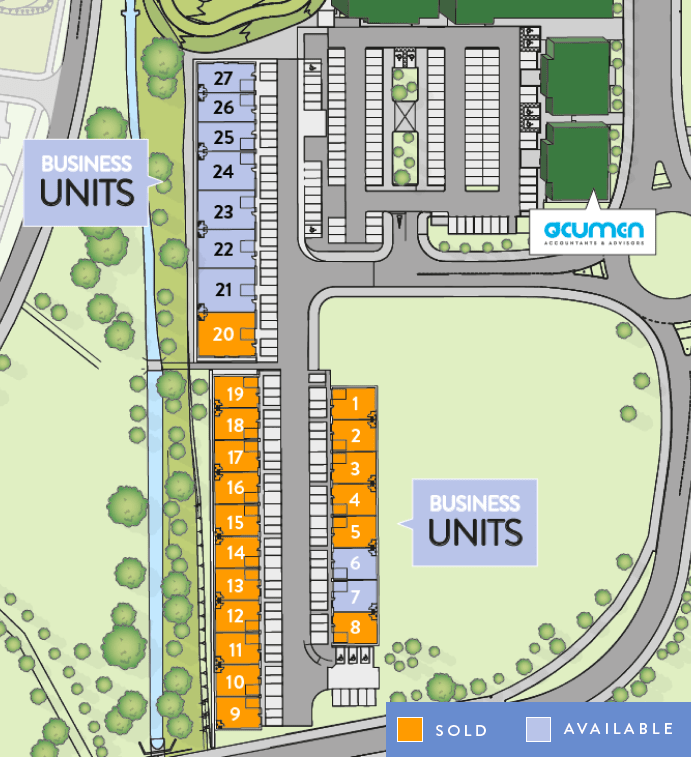 Site plan of the business units for sale and sold at City South, Aberdeen