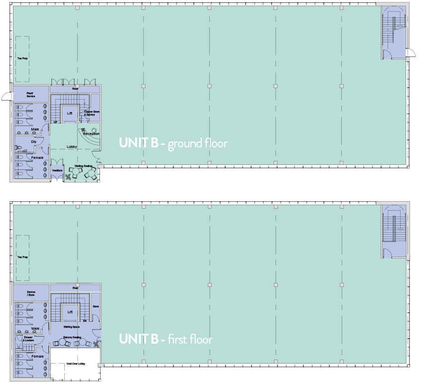 Floorplans for Unit B office space at City South Aberdeen