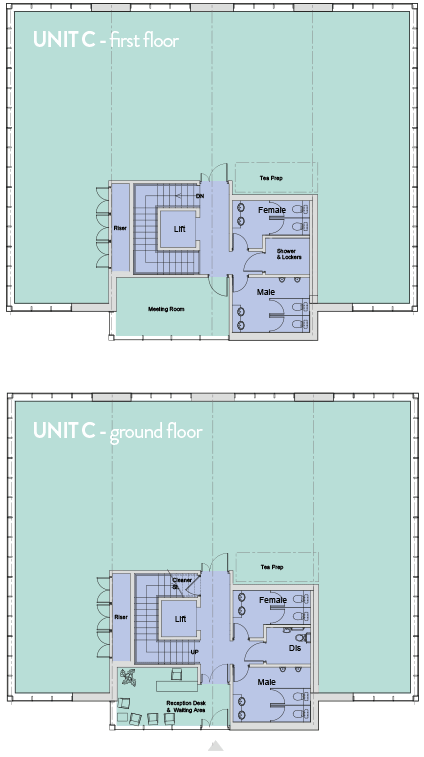 Floorplans for Unit C office space at City South Aberdeen.